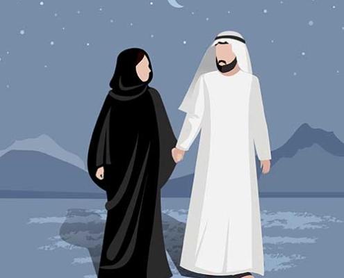 زوجة و زوج من السعودية